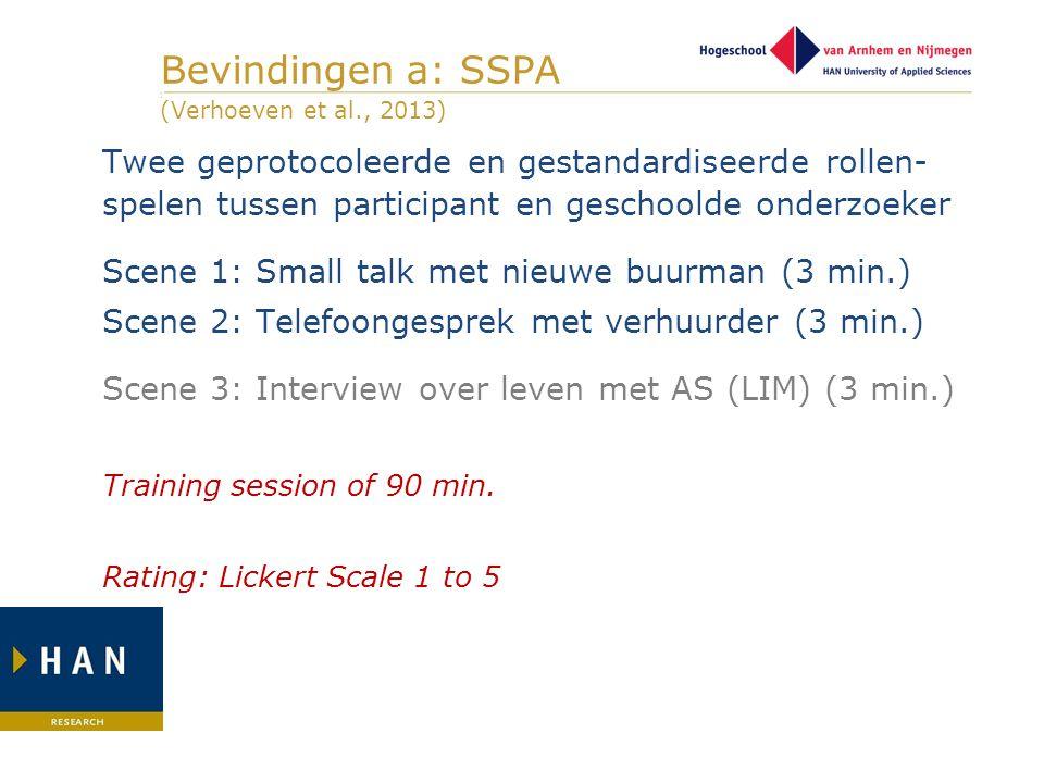Bevindingen a: SSPA ] (Verhoeven et al., 2013)